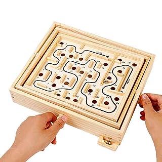 Toy*dfgh ☀ Puzzle in Legno con Labirinto di Equilibrio in Legno Puzzle per Bambini con Palla a Sfera, Giocattolo da decompressione 0422