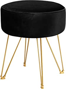 ERONE Round Footstool Ottoman Velvet Dressing Stool with Gold Metal Legs Upholstered Footrest,Makeup Chair Side Table for Kitchen Bedroom Living Room (Black)
