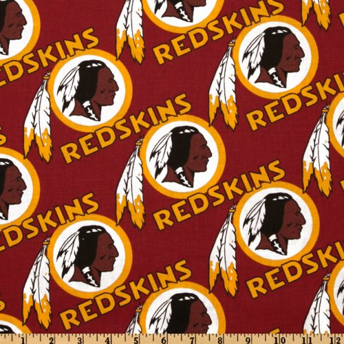 Fabric Traditions NFL Cotton Broadcloth Washington Redskins Maroon/Gold Fabric by The Yard, ()