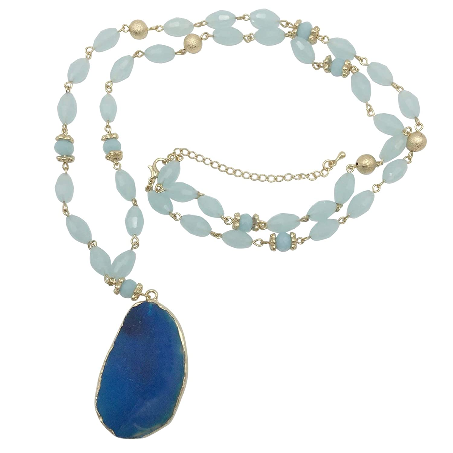 Long Natural Stone Slice Glass Beaded Gold Tone Necklace - Assorted Colors Gypsy Jewels A1