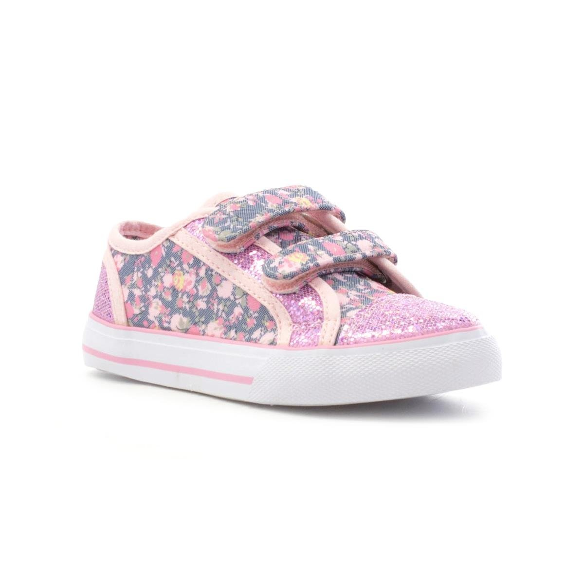 Walkright Girls Pink Floral Touch Fasten Canvas