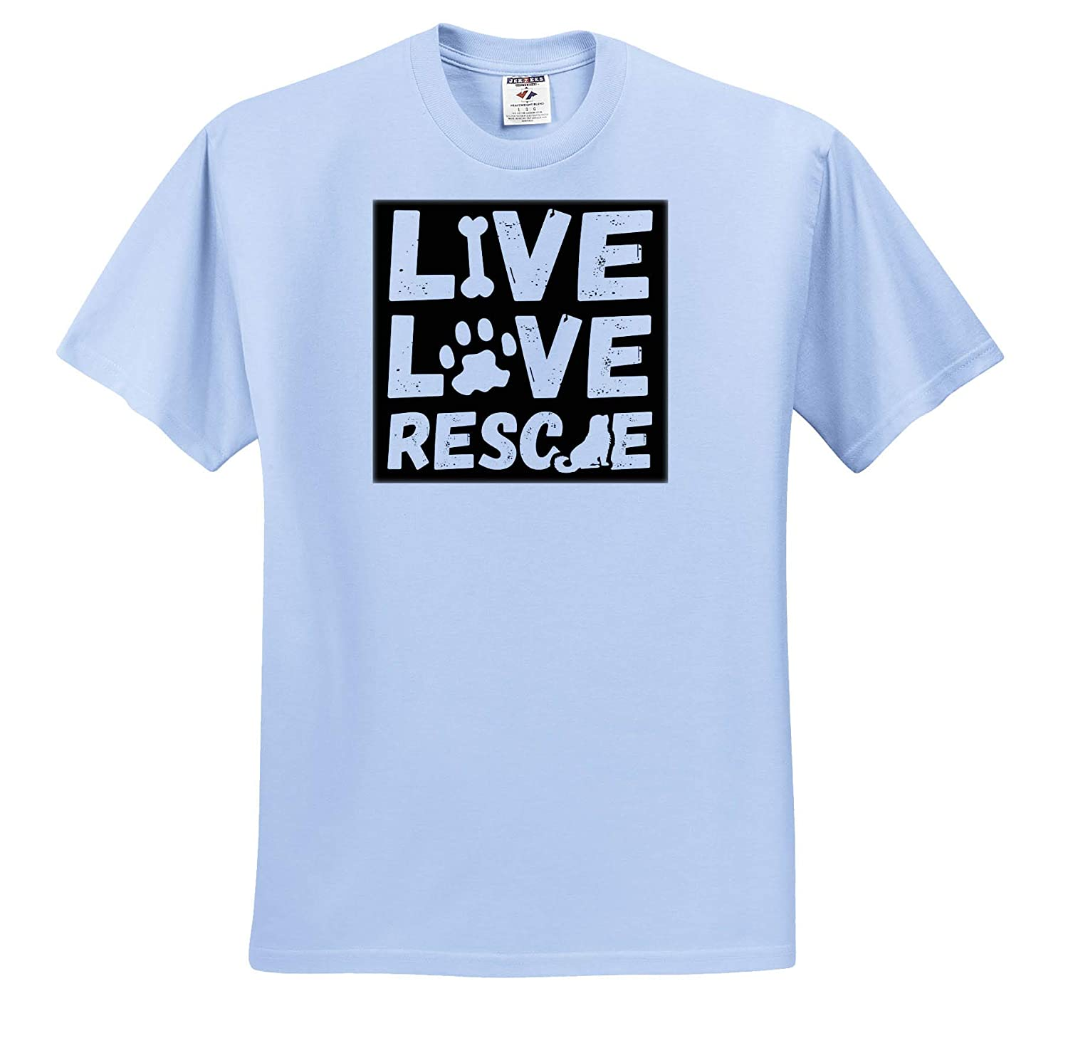 ts/_319227 Quotes and Sayings Live Love Rescue 3dRose Anne Marie Baugh Adult T-Shirt XL