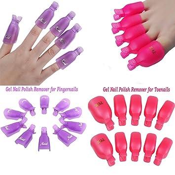 Pinzas para quitar el esmalte en gel de las uñas, de Bestim Incuk, para las uñas de las manos y de los pies, 20 unidades: Amazon.es: Belleza