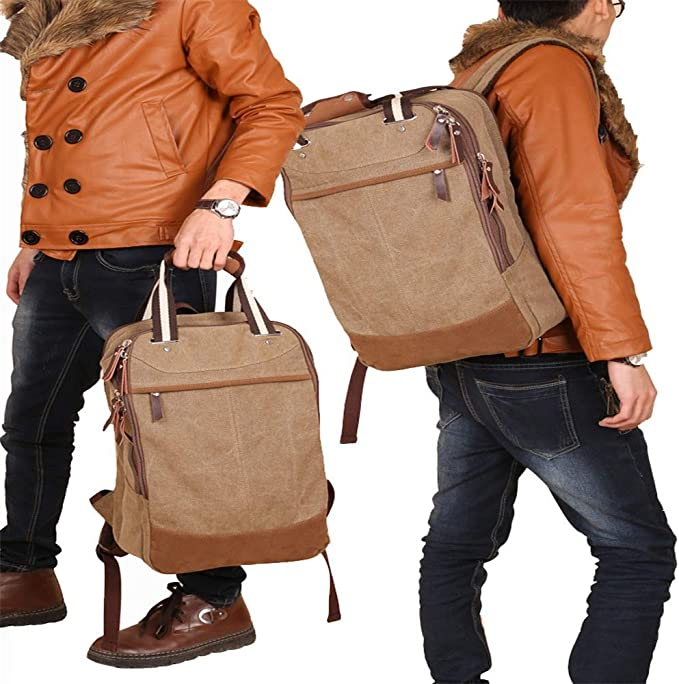 LHQ-Camera Bag Mens Durable Vintage Canvas Backpack School Laptop Bag Hiking Travel Rucksack Brown Camera Bag Color : Khaki