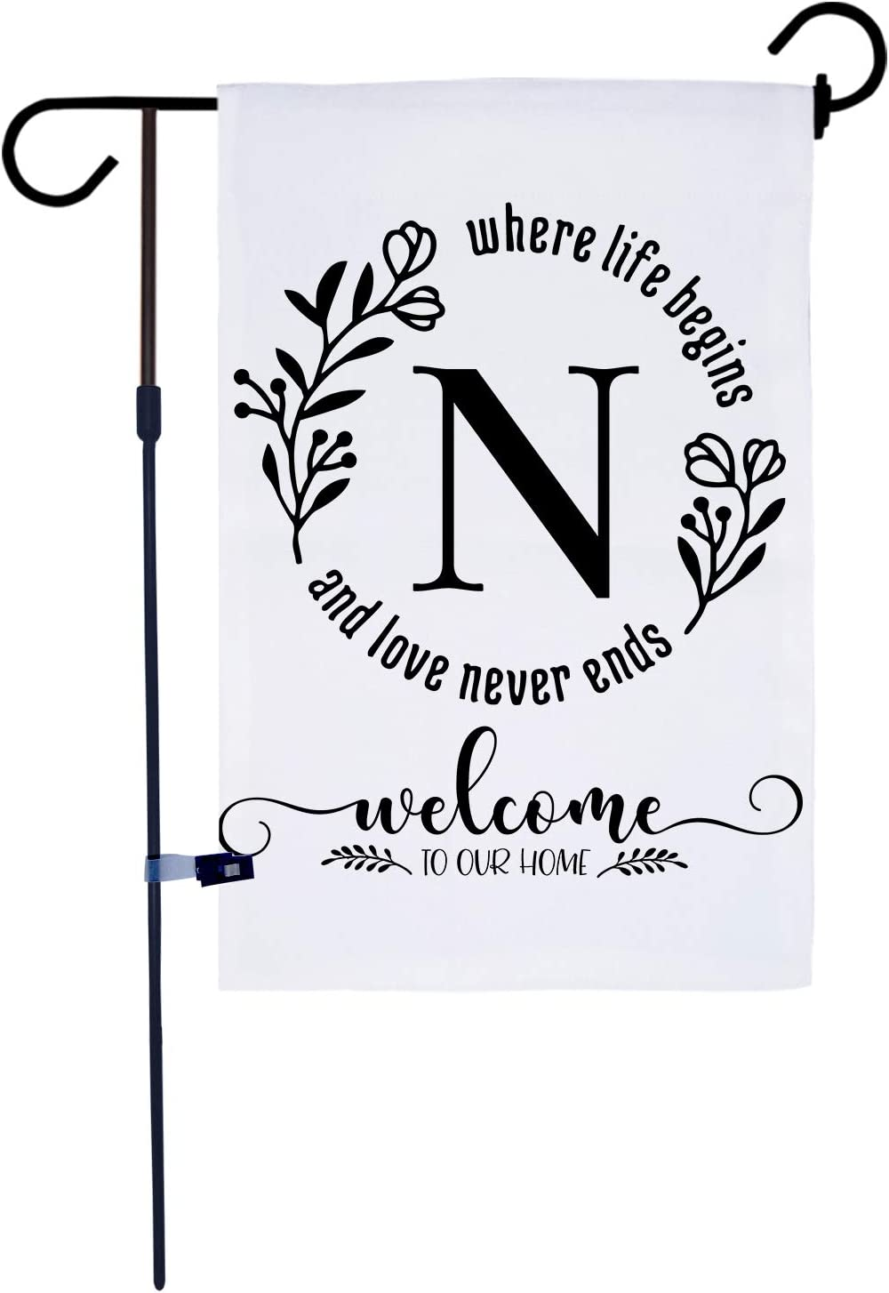 AKPOWER Small Garden Flag Vertical Double Sided 12 x 18 Inch Farmhouse Burlap Yard Outdoor Decor Classic Monogram Letter N
