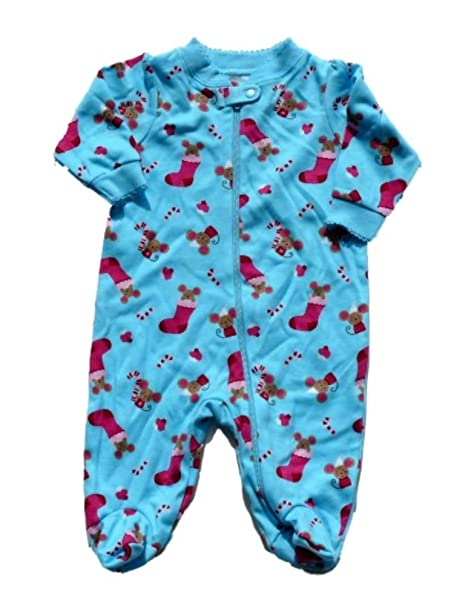b08980ecf6 Faded Glory Infant Girl Blue Christmas Mouse Sleeper Holiday Stocking PJs  0-3m