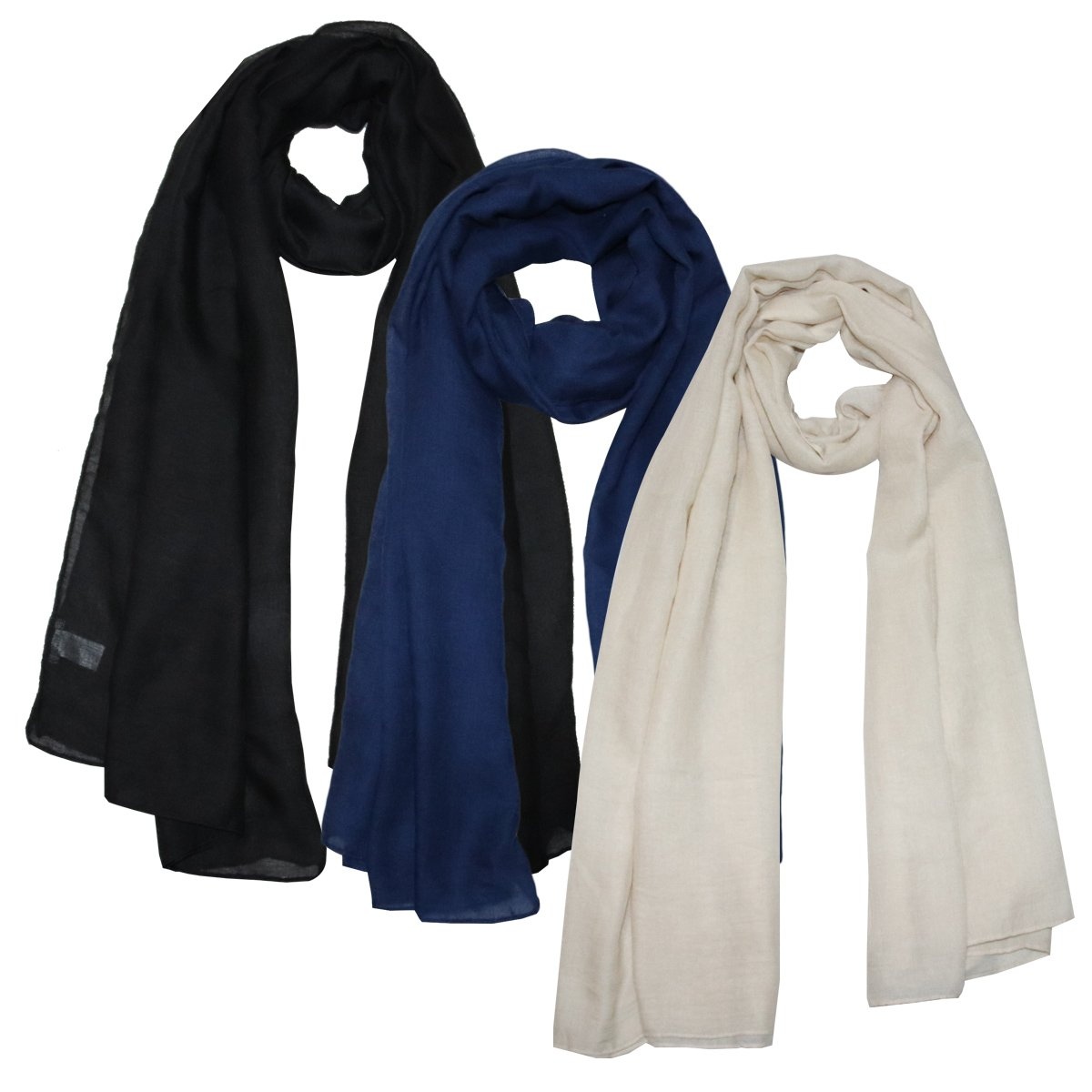 Same Pattern Different Quality 2018 New Developed Material 3 Packs Super Soft Lightweight Plain Oblong Scarf For Women Wear As Beach Cover Up Wrap (L-01)