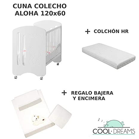 Cuna colecho de bebe Aloha + Ruedas + Kit colecho incluido + Colchón HR