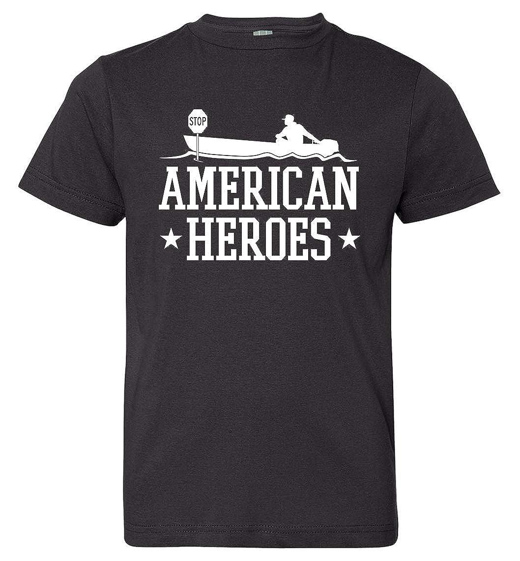 Tenacitee Boys Youth American Heroes T-Shirt Medium Black