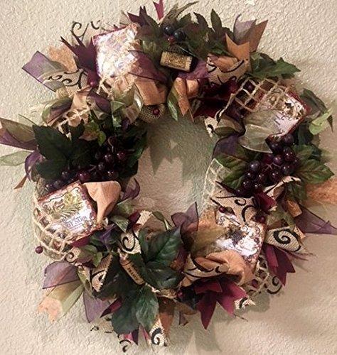 Tuscan Wine Burlap Wreath with Sparkle. Super Cute u0026 Whimsical. Great Tuscan Wine Decoration & Tuscan Wine Burlap Wreath with Sparkle. Super Cute u0026 Whimsical. Great Tuscan Wine Decoration for your Door or wall. Vino Wreath Wine Cork Wreath