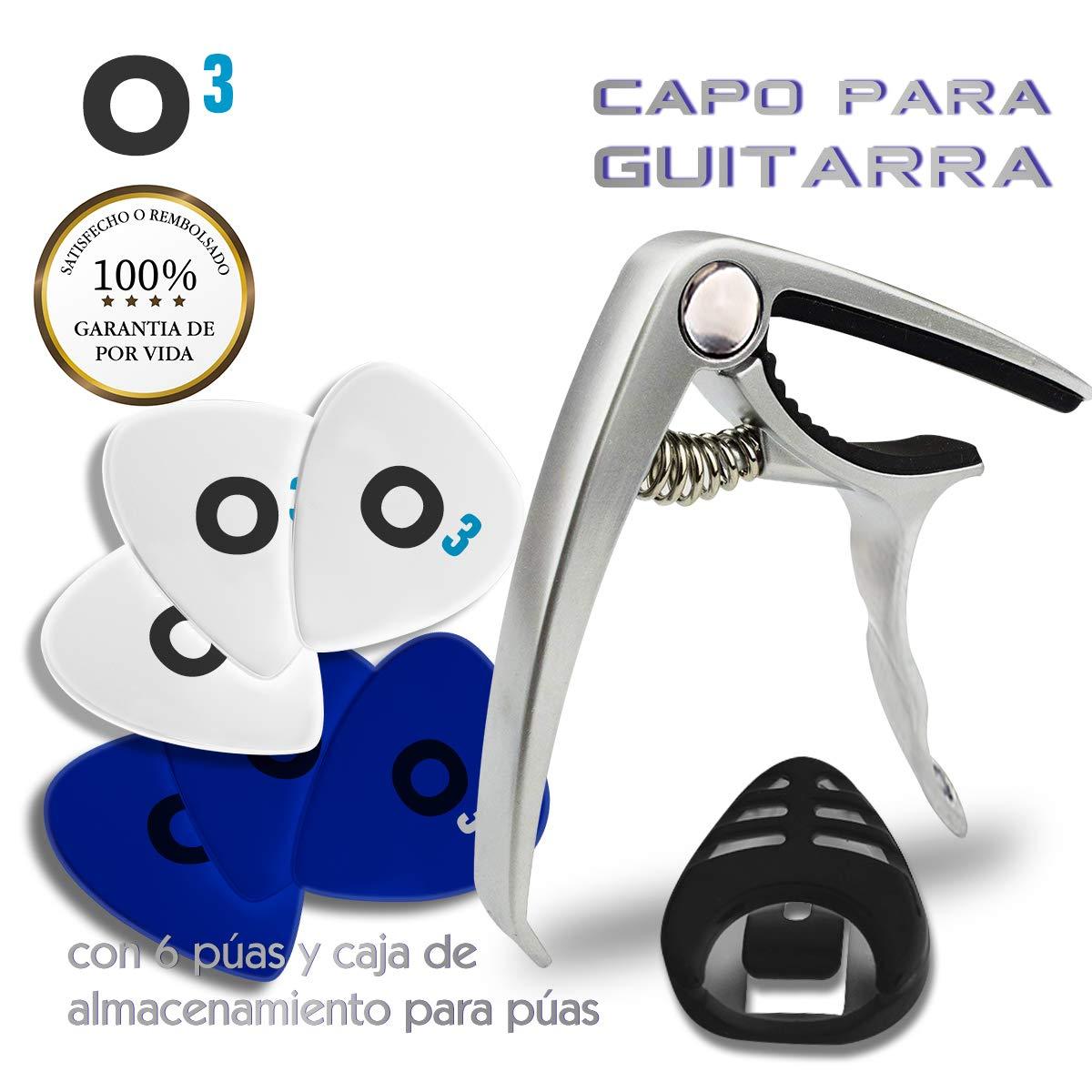 O³ Capo Guitarra Española - Acústica - Clásica + 6 Púas (3 * 0,46 mm + 3 * 0,71 mm) + Caja Para Púas | Cejillas Guitarra Española - Cejilla Guitarra ...
