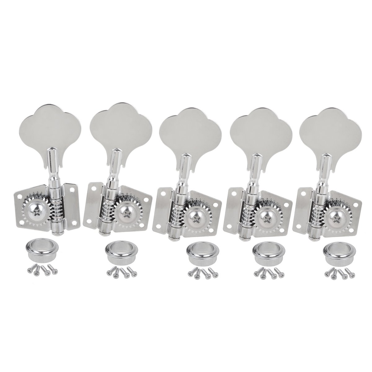 Kmise Chrome 5 String Bass Tuning Pegs Machine Heads Bass Tuners 4R1L