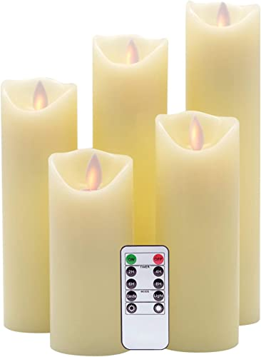 Eldnacele Moving Wick Flameless Candles Flickering with Remote Timer Warm White Unscented Battery Operated LED Pillar Candles Set of 5 Realistic Flame for Decoration 2.2 X 5 6 7 8 9