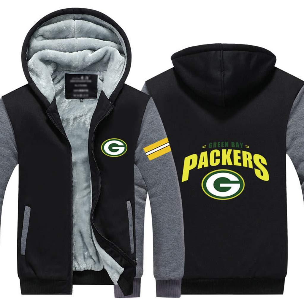 Green Bay Packers Rugby-Trikots Herbst und Winter Plus Samtverdickung Sport Hooded Zipper Jacken-Baumwolle Trainingsanz/üge M/änner und Frauen
