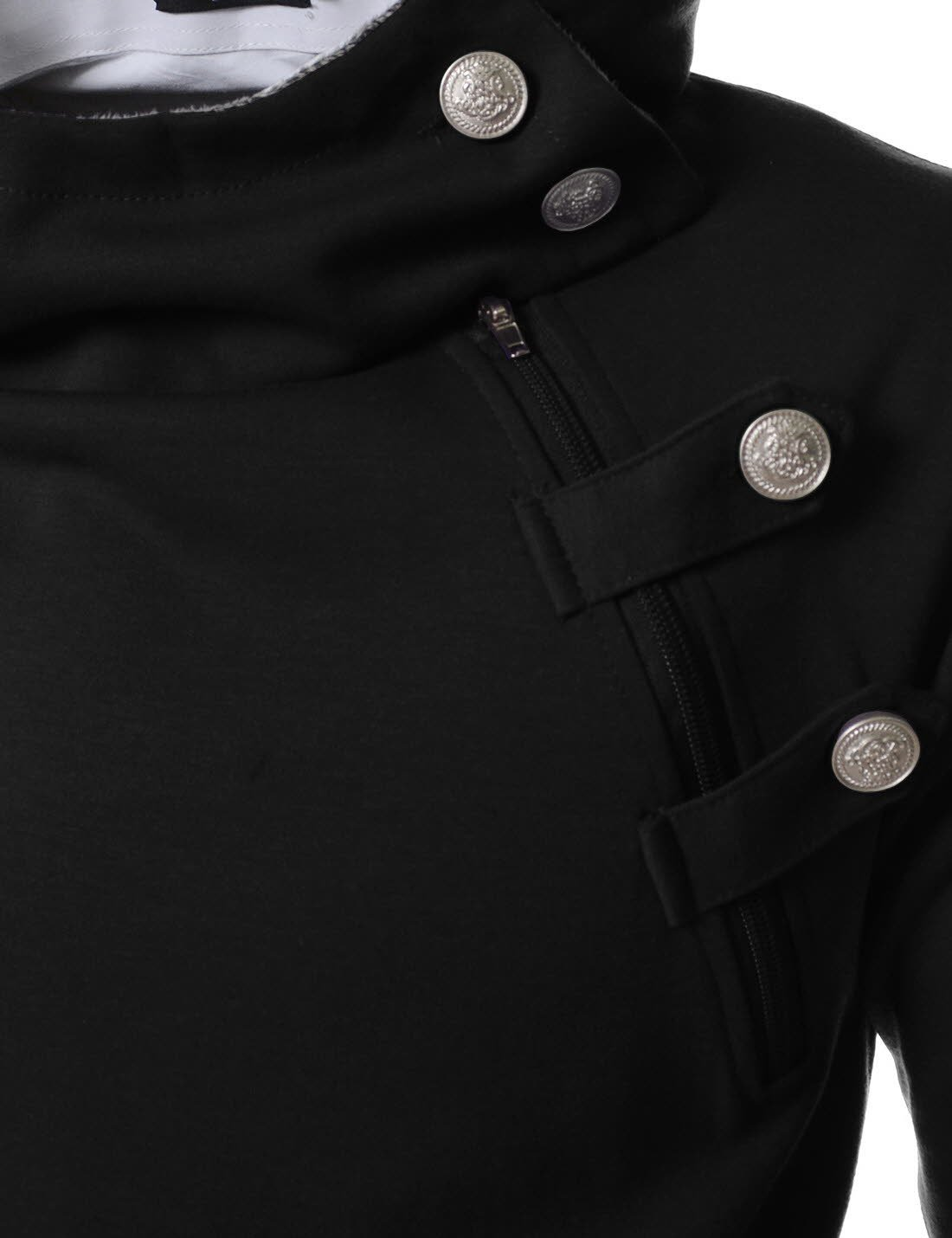 TheLees (R4BH) Mens Casual Luxury Buckle Hoodie Slim Cotton Sweatshirts BLACK US XS(Tag size M) by TheLees (Image #4)