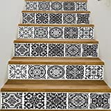 VancyTop Black and White Style Ceramic Tile Pattern Stair Stickers Self-adhesive DIY Removable Wall Decals 18100cm6pcs/set