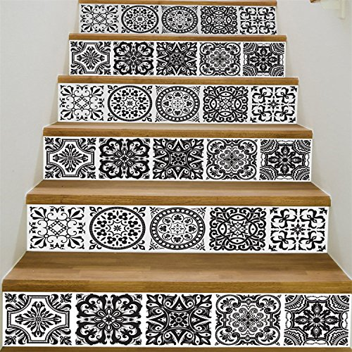 VancyTop Black and White Style Ceramic Tile Pattern Stair Stickers Self-adhesive DIY Removable Wall Decals 18100cm6pcs/set by VancyTop