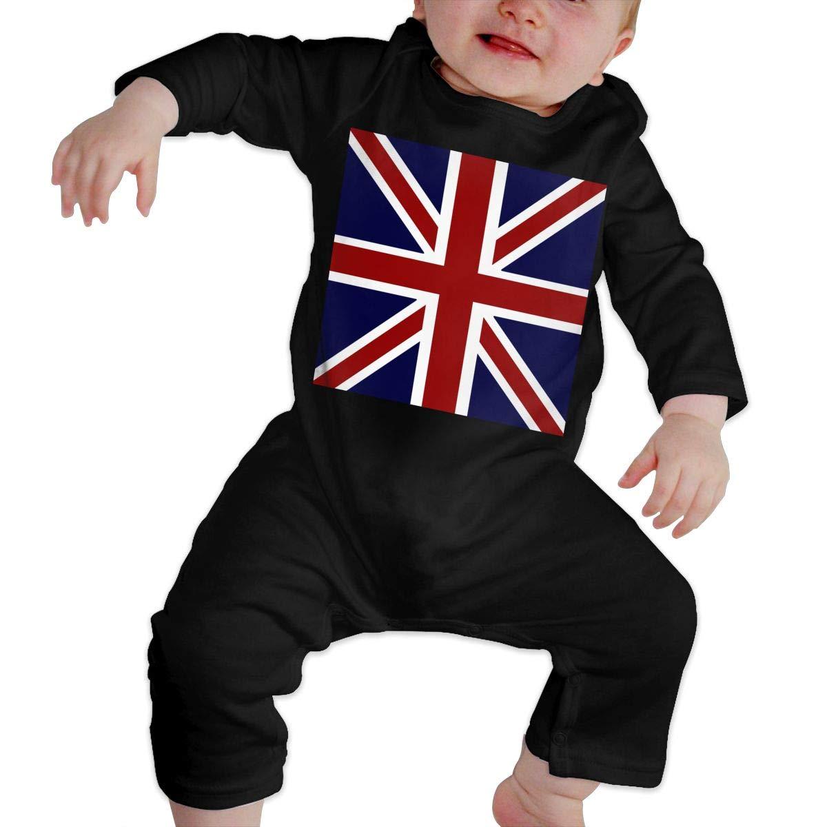 YUE--3BODY British Flag Toddler Baby Boy Girl Long Sleeve Infant Bodysuit
