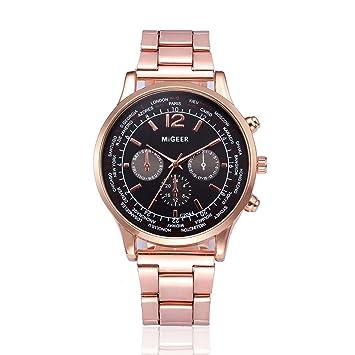 96909fd9af6d Reloje Hombres ❤ Amlaiworld Reloj de pulsera de cuarzo analógico de acero  inoxidable cristalino de hombre de moda (J)  Amazon.es  Deportes y aire  libre