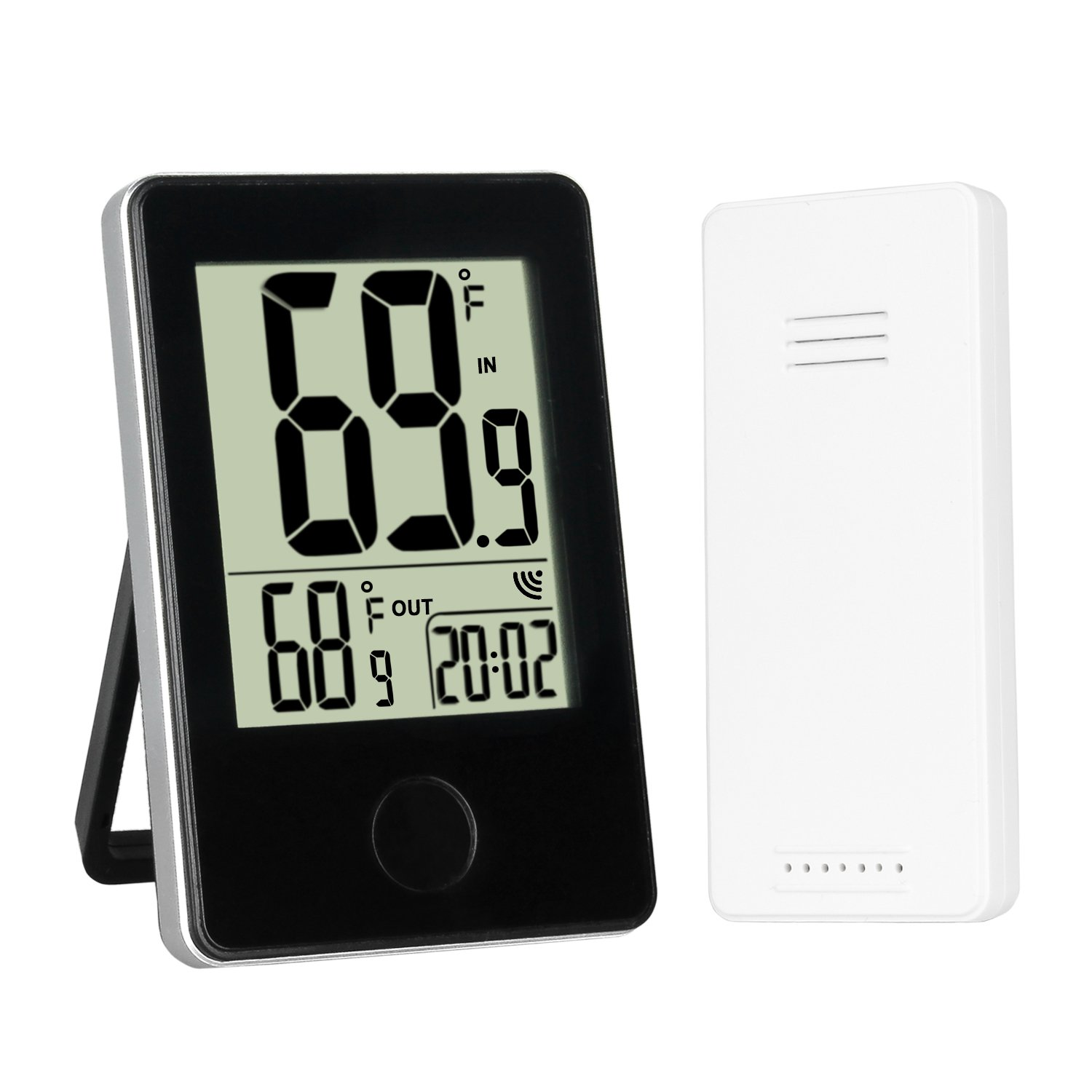 Sondiko Indoor Outdoor Thermometer, LCD Digital Thermometer with Wireless Sensor Min/Max Temperature Record Clock