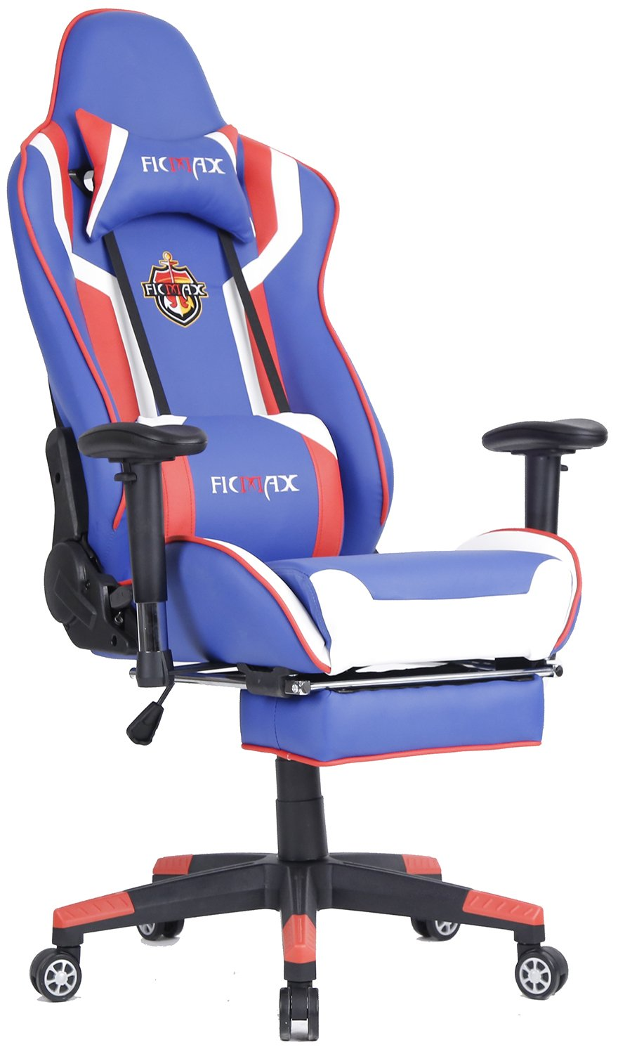 Ficmax Ergonomic Computer Racing Chair Leather Swivel Executive Office Chair Recliner Rocker Tilt E-sports Chair with Adjustable Headrest & Lumbar Massage Support and Retractable Footrest (Blue/Red)
