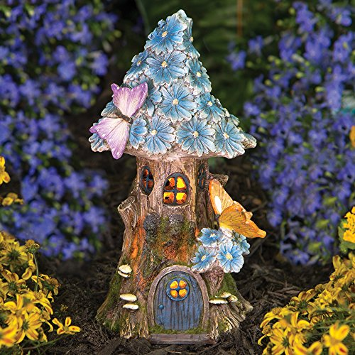 Solar Butterfly & BLUE Daisies Fairy House Unique Lawn