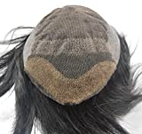 Natural Black Mens Hairpiece Toupee Hair Replacement for Men Pu Back and Sides Bleached Knots 1b