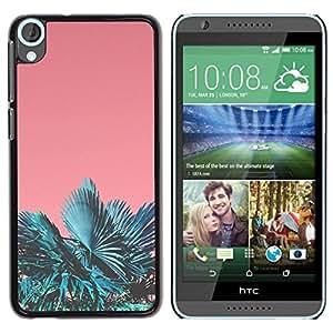 FECELL CITY // Duro Aluminio Pegatina PC Caso decorativo Funda Carcasa de Protección para HTC Desire 820 // Miami Tropics Teal Peach Summer Sun