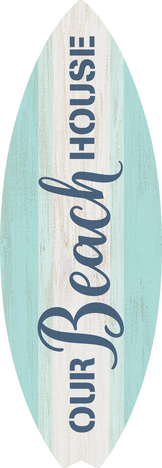 Our Beach House Surfboard Shaped 12 x 4 Wood Wall Plaque Sign
