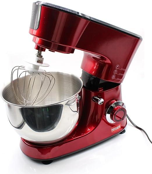 oukaning brazo multifuncional 1000 W Robot de cocina amasadora – Amasadora 5L Cuenco para mezclar con protección contra salpicaduras – Incluye, mezclador Ganchos para amasar & Batidor – Rojo: Amazon.es: Hogar