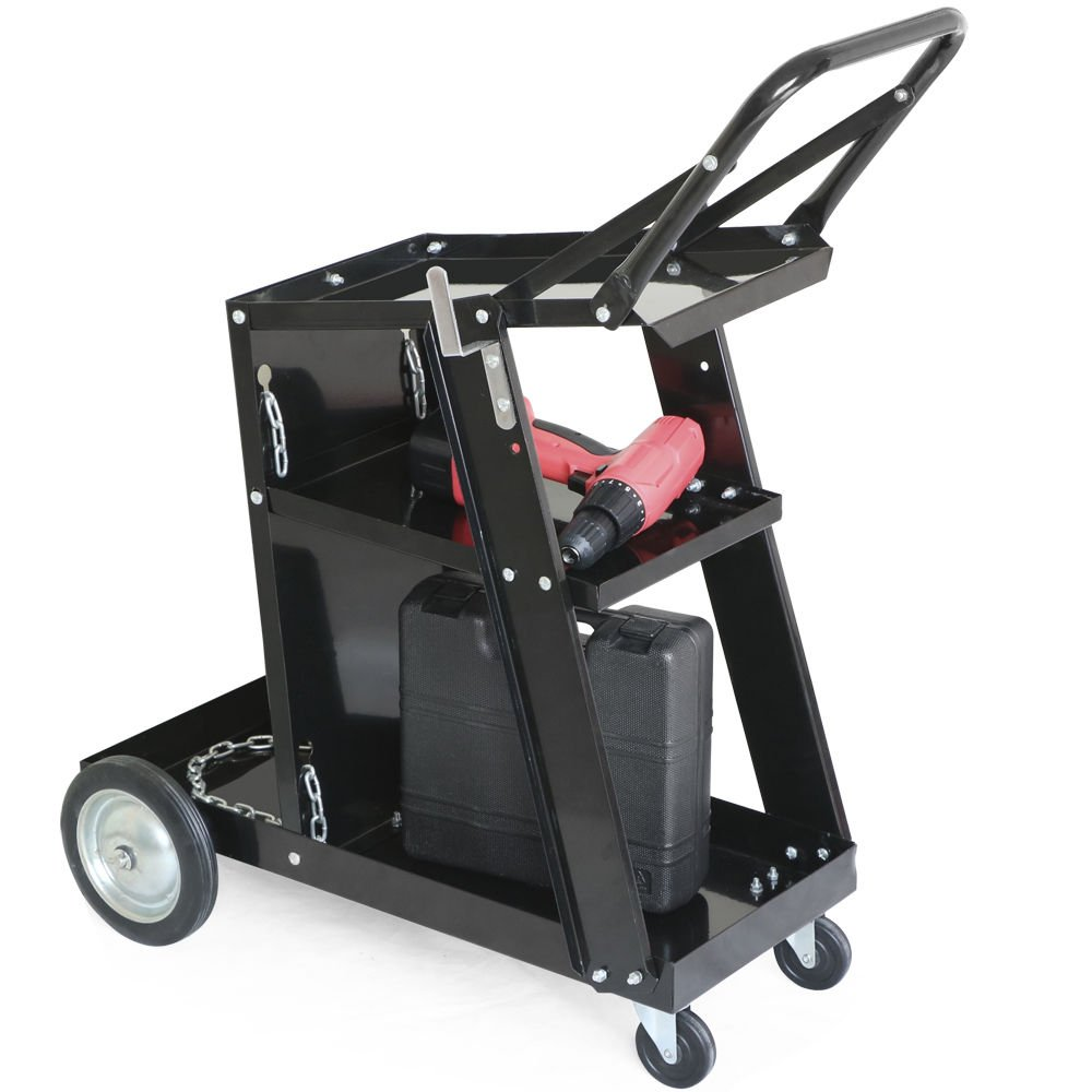 Mojogy 3-Tier Welding Cart MIG Welder Welding Cart Universal W/Tank Storage Black