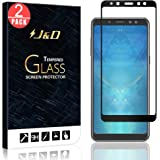 J&D Compatible for 2-Pack Galaxy A8 2018 Screen Protector, [No Lifted Edges] [NOT Full Coverage] Tempered Glass Film…