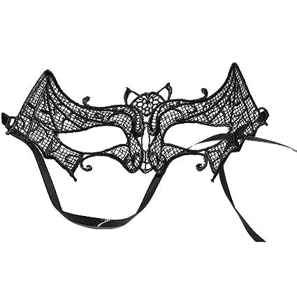 OULII Mascara Veneciana Masquerade Halloween Mujer Negro Murciélago Máscara