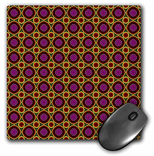 3dRose Jaclinart Santa Fe Abstract Geometric Tiles Collection - Pink, violet, red, green, and yellow southwest feeling geometric circles and flowers tile design - MousePad (mp_63678_1)