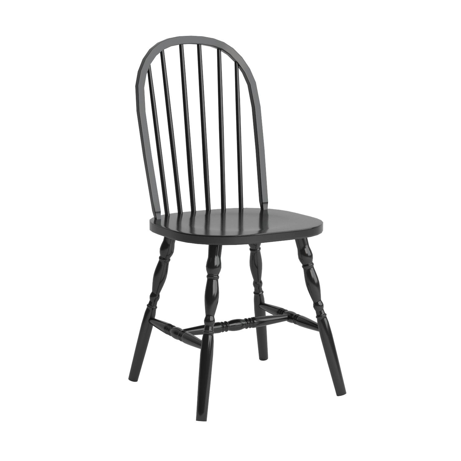 Winsome Wood Assembled 36-Inch Windsor Chairs with Curved legs, Set of 2, Black Finish