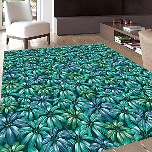 Rug,FloorMatRug,Floral,AreaRug,Gardening Theme Beauty Blooms Exotic Flower Field Plant Foliage Jungle,Home mat,2'x3'Jade Green Petrol ()