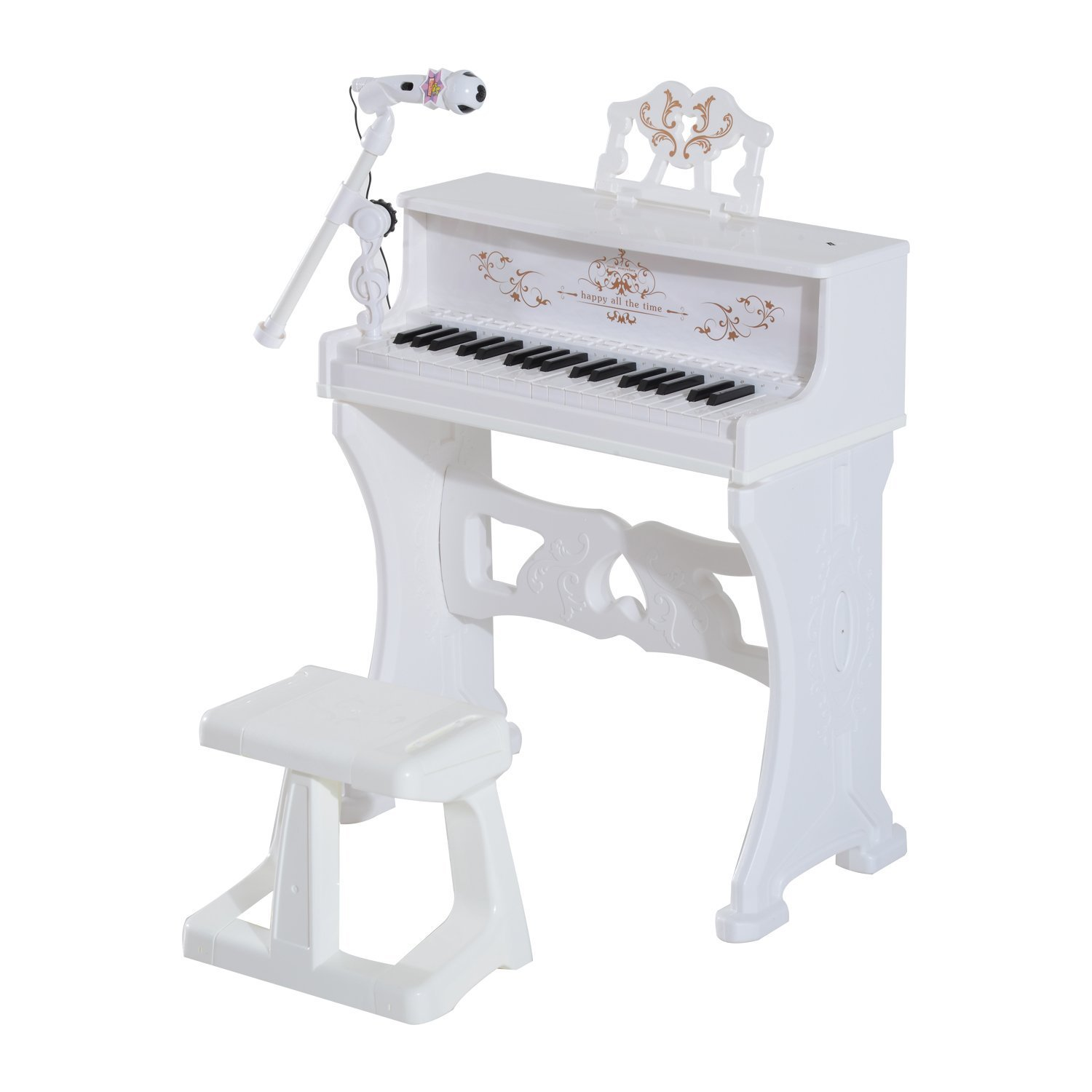 Qaba 32 Key Princess Electronic Kids Keyboard with Stool and Microphone - White by Qaba