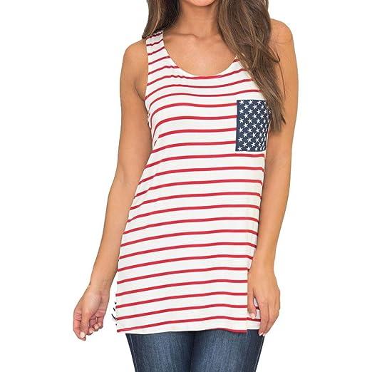 Kinrui Womens Striped Vest Tank Top American Flag Printed Sleeveless ...