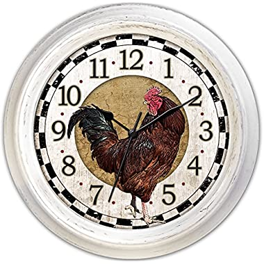 Ashton Sutton Round Quartz Analog Wall Clock, 18-Inch, Rooster Dial, Antique White Case