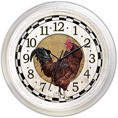 Ashton Sutton Round Quartz Analog Wall Clock, 18-Inch, Rooster Dial, Antique White Case