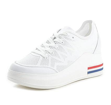 DANDANJIE Zapatillas para Mujer Zapatillas Blancas Transpirables Casual Zapatos Ocultos Antideslizantes para Caminar al Aire Libre