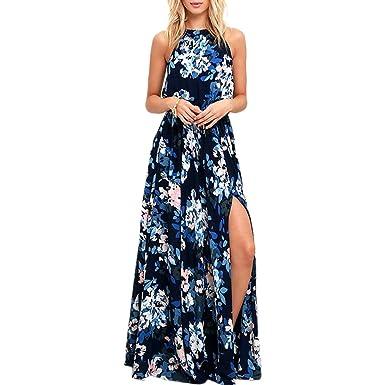 c934e7abaea iShine Sommerkleid Damen Neckholder Kleid Lang Maxikleid damen Strandkleid  Boho Kleid Abendkleid Partykleid  Amazon.de  Bekleidung