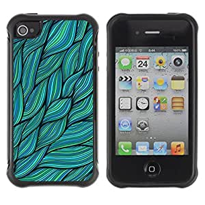"Hypernova Defender Series TPU protection Cas Case Coque pour Apple iPhone 4 / iPhone 4S [Hojas Verdes Naturaleza Tinta de Verano""]"