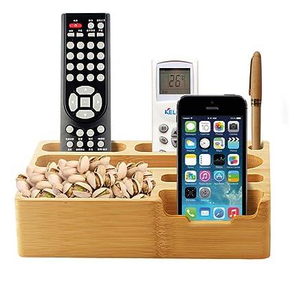 alta calidad de bambú caja de almacenamiento móvil teléfono teledirigido Home Office organizador juguete cajas de
