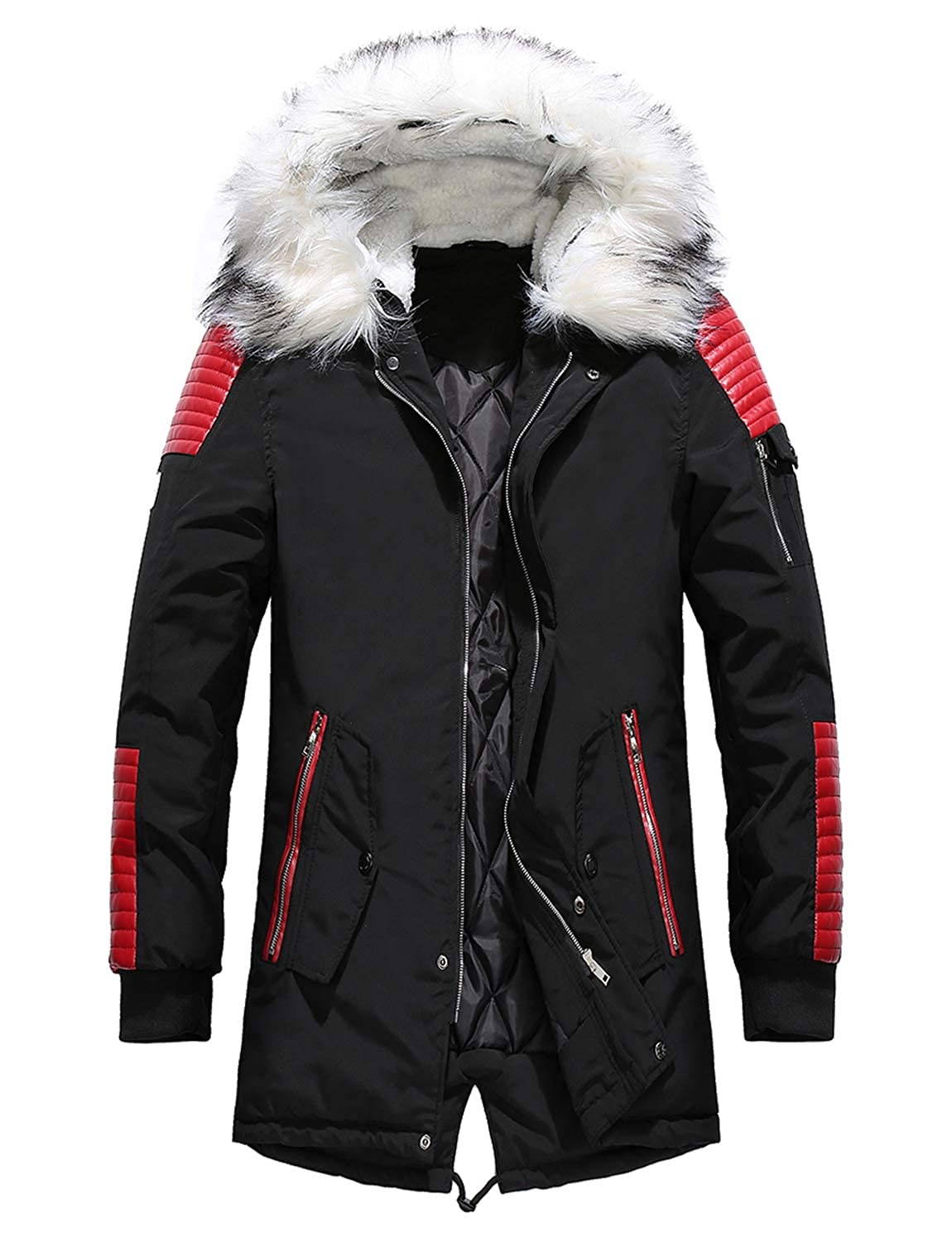 BELLOO Men's Winter Parka Coat Padded Windbreaker Jacket with Faux Fur Hood PU Leather Patch
