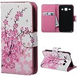 Housse Samsung Core Plus,Étui à Rabat Coque en PU Cuir Étui Pour Samsung Galaxy Core Plus (GT-G3500 / SM-G350 / G3502) Case Cover Portefeuille Housse de Protection Protecteur (Fleur rose)