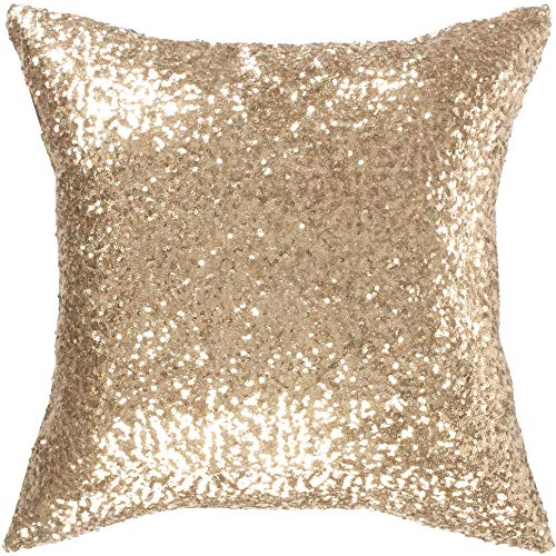 Kevin Textile New Year Decorative Euro Throw Pillow Cover Sham Solid Luxurious Sequin Throw Pillow Cover Sham,18