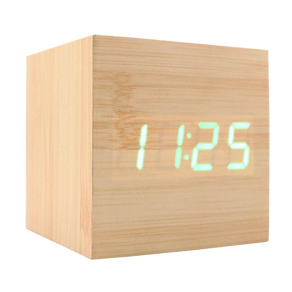 Uncategorized Wood Alarm Clock amazon com wooden alarm clock usb digital retro cube wood led desktop table home decor mini travel voice sou