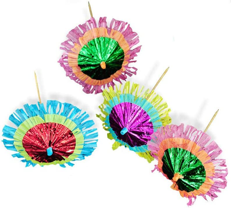 30 Pcs Umbrellas Picks, Cocktail Parasol Picks Colorful Paper Umbrellas for Hawaiian Party and Pool Party Supplies