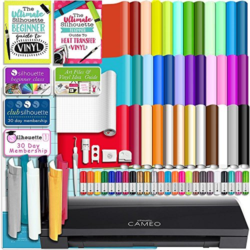 Silhouette BLACK CAMEO 3 Bluetooth Starter Bundle with 36 12x12 Oracal Sheets, Siser Easyweed T-Shirt Vinyl, Membership, Transfer Paper, Guide, Class, 24 Sketch Pens, and ()